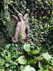 An angel in the cemetery of the bone church of Kutna Hora