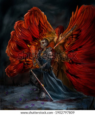 An angel with red wings raised his sword over the skeleton. The skeleton is praying, it is wearing an iron shell, and a cloak, the skeleton's eyes are burning. They are in the snow. Angel kills evil