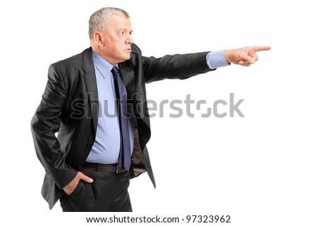 An angry boss firing an employee isolated on white background