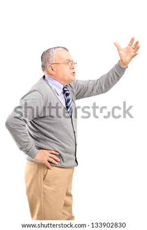 An angry mature man shouting, isolated on white background