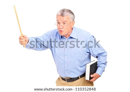 An angry mature teacher holding a wand and gesturing isolated on white background