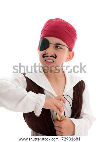 An angry young pirate with eye patch holds a telescope.  White background. - stock photo