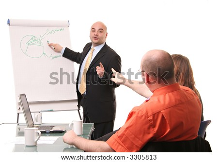 An animated flipchart business meeting isolated on a white background.