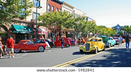An antique car show in a small town in New Jersey