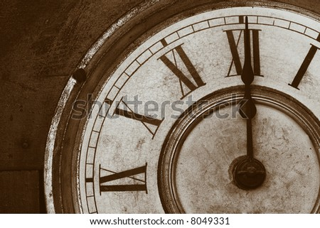 An Antique Clock Face in a brown sepia tone.