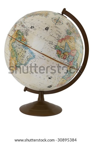 An antique globe isolated on white.