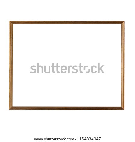 An antique gold thin wooden frame isolated on a white background. #1154834947