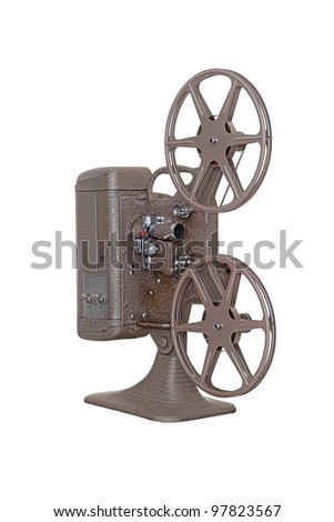 An antique 8mm film projector isolated on a white background - stock photo