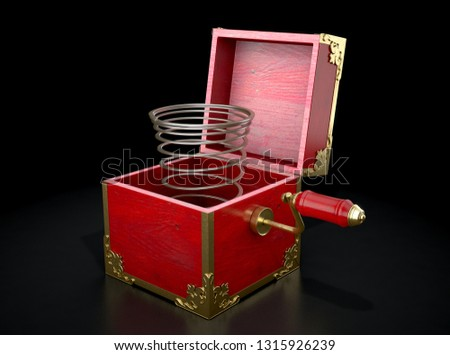 An antique open jack-in-the-box mad of red wood and gold trimmings with an unattached spring  - 3D render Stockfoto ©