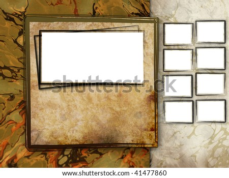 An antique photo gallery template to display your photos on like a scrapbook or photo album for print or the web. Has an antique, grunge, rustic look. Add smaller photos on the side.