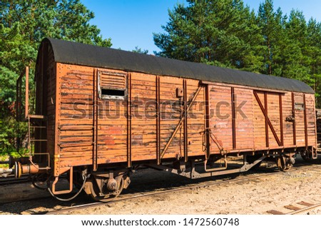 An antique railway wagon that loads varying loads #1472560748