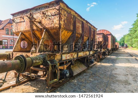 An antique railway wagon that loads varying loads #1472561924