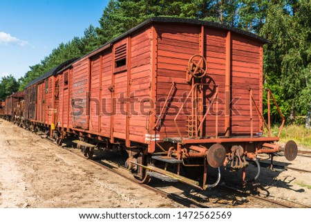 An antique railway wagon that loads varying loads #1472562569