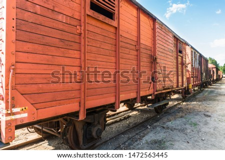 An antique railway wagon that loads varying loads #1472563445