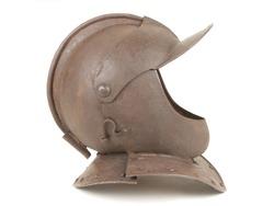 An Antique 17th Century English Civil War Period Close Helmet on White Background