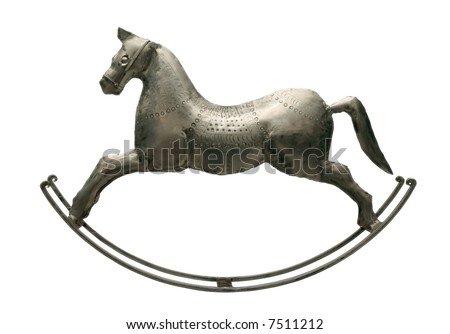 An antique toy. The rocking-horse. - stock photo