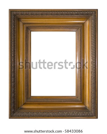 An antique Victorian picture frame, isolated on white with clipping path.
