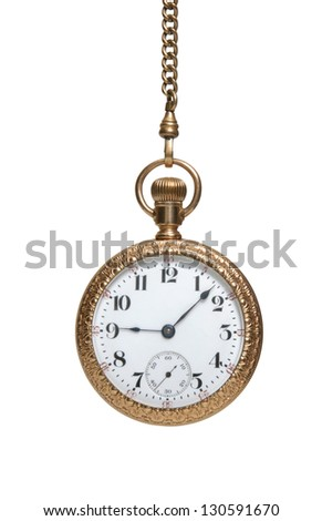 An antique wind-up watch hanging by its chain isolated on white