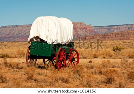 An antique wooden wagon from the wild west.