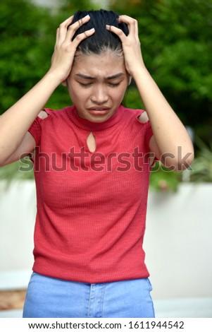An Anxious Thin  Cute Female