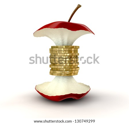 An apple core with gold coins as the center on an isolated background
