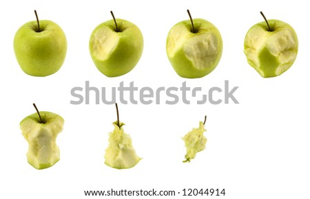 An apple in seven stages of eating process, isolated on white. Can be used as progress bar substitute.
