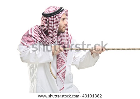 An Arab person pulling a rope isolated on white background