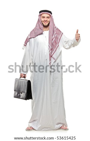 An arab person with a thumbs up isolated on white background [May be offesive gesture in Middle Eastern Countries and Internationally]
