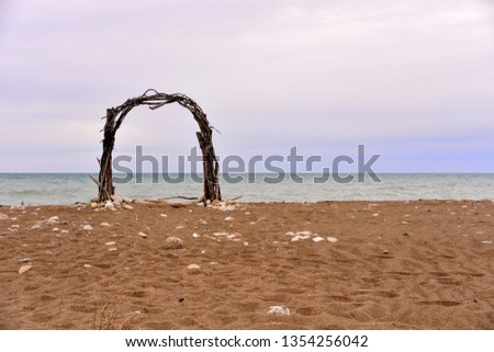 Sea view through the arch,sunset Images and Stock Photos