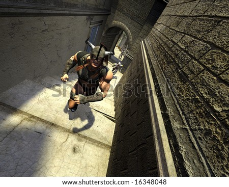 Stock Photo An armoured barbarian is chased through the winding streets of Saravis by the elite Royal Guard.
