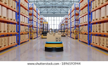 An army of robots efficiently sorting hundreds of parcels per hour(Automated guided vehicle) AGV.3d rendering
