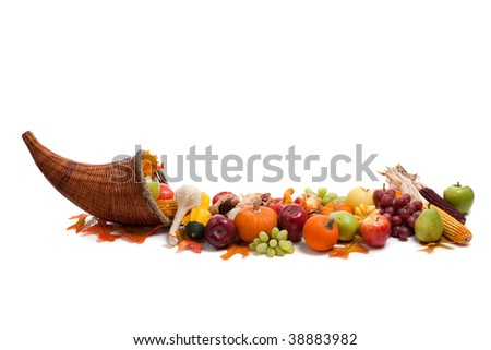 An arrangement of fall fruits and vegetables - stock photo