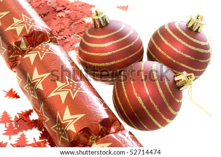 an arrangement of red christmas decorations - stock photo