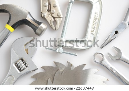 An array of assorted hand tools closeup