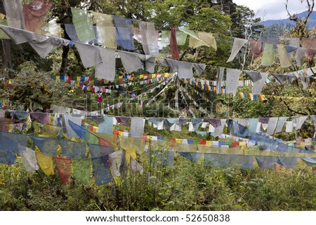 An array of Buddhist prayer flags strewn across a field in the Himalayan Kingdom of Bhutan. Horizontal shot. - stock photo