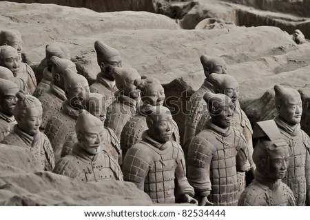 an array of chinese terracotta warriors from xi'an tomb