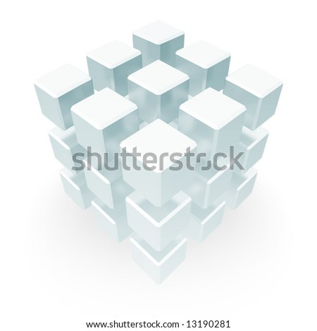 An array of cubes positioned so as to make a statement of an abstract nature, having to do somewhat with something vague and interesting.