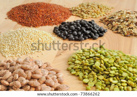 An array of dried foods on a cutting board