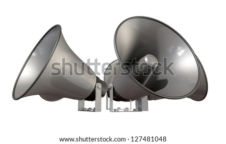 An array of five horn loudspeakers in a circle facing outwards on an isolated background