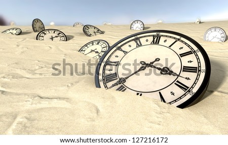 An array of half buried antique clocks scattered across a sandy desert landscape under a blue sky