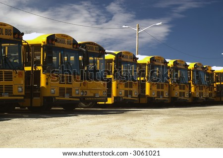 An array of school bus at a local parking lot