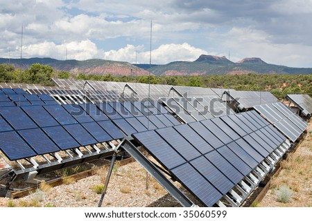 An array of solar panels provides power in the mountains
