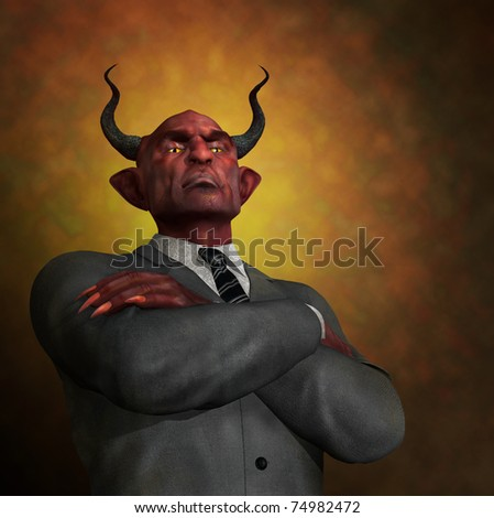 An arrogant ruthless demon in business attire - 3D render with digital painting.