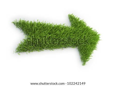 An arrow made out of a patch of grass