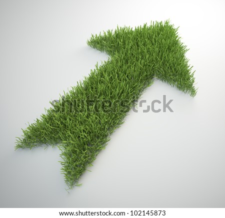 An arrow made out of a ptach of grass