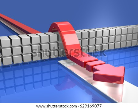 An arrow overcoming an obstacle represents a solution. 3D illustration