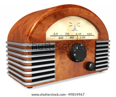 An art-deco style radio with antique styling isolated on a white background