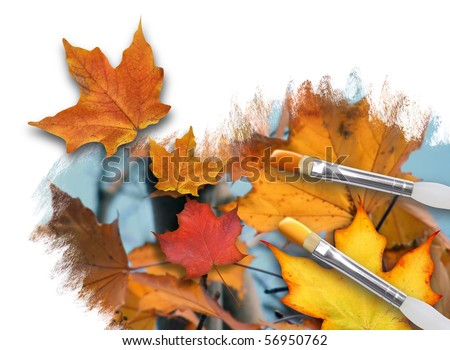 An artist is painting colorful fall leaves on a white background canvas with paint brushes. One leaf is popping out. Can represent a season or nature concept.