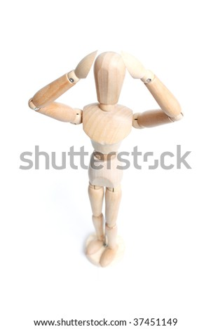 An artist mannequin isolated on a white background - stock photo