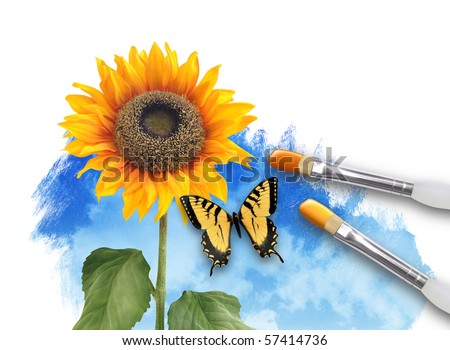An artist paintbrush is painting a spring nature scene on a white isolated background. A sunflower is growing from the artwork. There is a butterfly. Use it for creative or imagination concept.